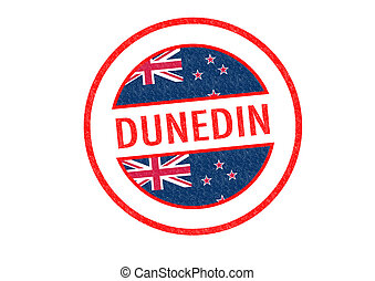 DUNEDIN - Passport-style DUNEDIN rubber stamp over a white...