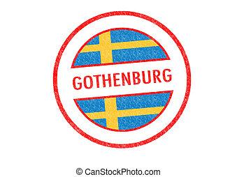 GOTHENBURG - Passport-style GOTHENBURG rubber stamp over a...