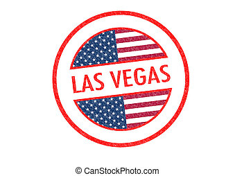 LAS VEGAS - Passport-style LAS VEGAS rubber stamp over a...