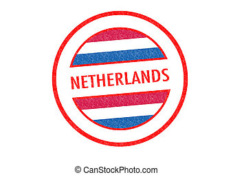 NETHERLANDS - Passport-style NETHERLANDS rubber stamp over a...