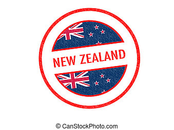 NEW ZEALAND - Passport-style NEW ZEALAND rubber stamp over a...