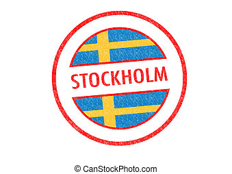 STOCKHOLM - Passport-style STOCKHOLM rubber stamp over a...