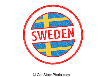 SWEDEN - Passport-style SWEDEN rubber stamp over a white...