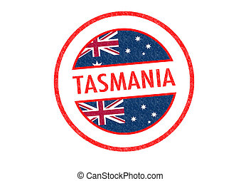 TASMANIA - Passport-style TASMANIA rubber stamp over a white...