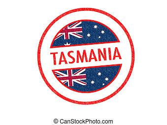 TASMANIA - Passport-style TASMANIA rubber stamp over a white...