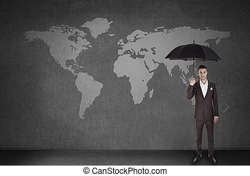 men over world map with umbrella