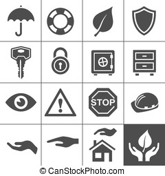 Protection icons Simplus series Vector Illustration