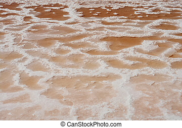 Texture of saline marshes of cousine salt production in...
