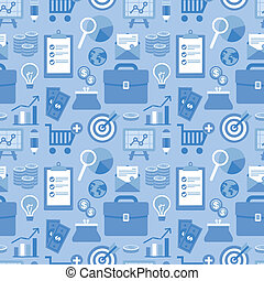 Vector flat seamless pattern with business icons - Vector...