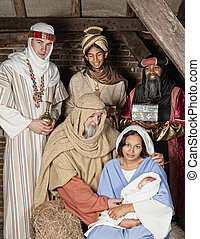 Nativity wisemen - Live Christmas nativity scene reenacted...