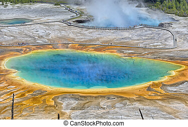 Grand Prismatic Spring - The Grand Prismatic Spring and...