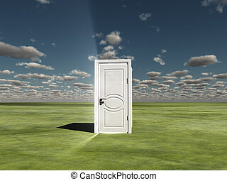 Semi Closed door in ladscape emits light