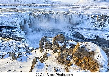 Godafoss in winter, Iceland