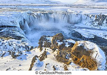 Godafoss in winter, Iceland
