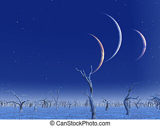 Three planets rise over dead lands