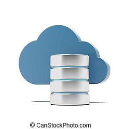 Cloud and remote data storage isolated on a white...