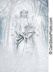 invierno, bosque, Ángel