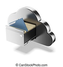 File storage in cloud isolated on a white background 3d...