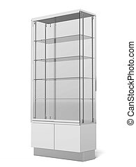 Transparent Retail Store Shelves isolated on a white...