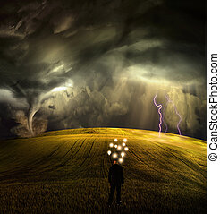 Man has many ideas in stormy field
