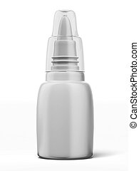 blank nasal spray bottle isolated on a white background. 3d...