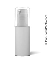 White cosmetics container isolated on a white background 3d...