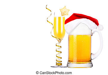 Beer with hat of Santa Claus and cocktail