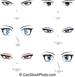 Anime faces - Set of different faces in manga, anime style.