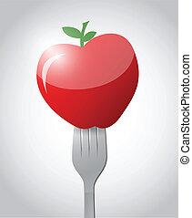 fork and apple illustration design