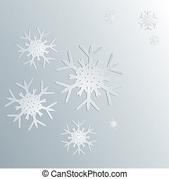 Paper snowflakes - Abstract paper cut snowflakes on gray...