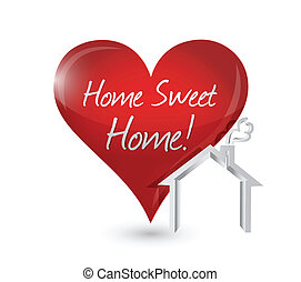 home sweet home heart illustration design over a white...
