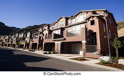 Urban Sprawl Suburban Condominiums Middle Upper Class...