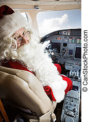 Man, In, Santa, Costume, Sitting, In, Private, Jet's,...