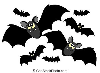 Bats silhouettes on white background - isolated...