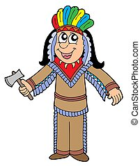 Cute Apache with tomahawk - isolated illustration.