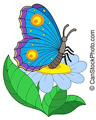 Butterfly with flower - isolated illustration.