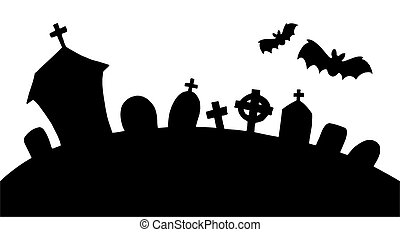 Cemetery silhouette on white background - isolated...