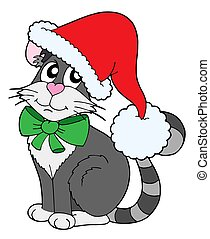 Cat in Christmas cap - isolated illustration.