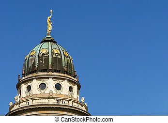 the French Cathedral domme detail, Gendarmenmarkt square,...