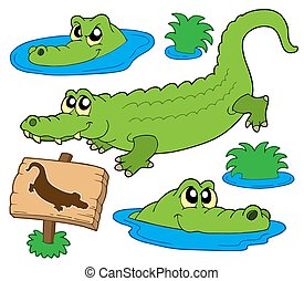 Crocodile collection on white background - isolated...