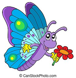 Cute butterfly holding flower - isolated illustration.