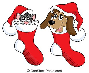 Cute cat and dog in Christmas socks - isolated illustration.