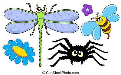 Cute insect collection - isolated illustration.