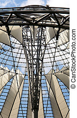 Futuristic roof at Sony Center, Potsdamer Platz, Berlin,...
