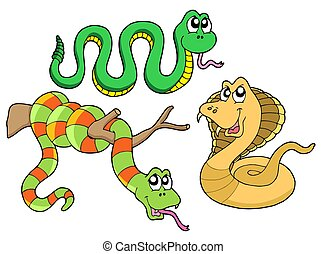 Cute snakes collection - isolated illustration
