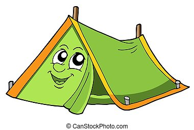 Cute tent with smiling face - isolated illustration.