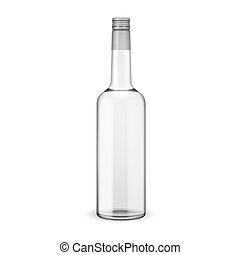 Glass vodka bottle with screw cap Vector illustration Glass...