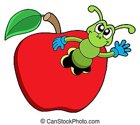 Cute worm in apple - isolated illustration.