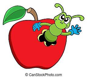 lindo, gusano, manzana