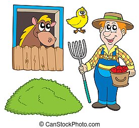 Farmer collection on white background - isolated...